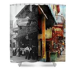 Shower Curtain featuring the photograph City - Coney Island Ny - Bowery Beer 1903 - Side By Side by Mike Savad