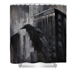 City Dweller Raven Dark Gothic Crow Wall Art Shower Curtain by Gray Artus