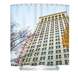 Shower Curtain featuring the photograph City Federal Building In Autumn - Birmingham, Alabama by Shelby Young
