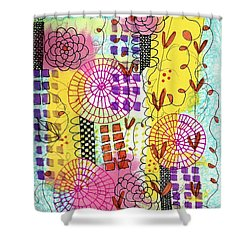 Shower Curtain featuring the mixed media City Flower Garden by Lisa Noneman