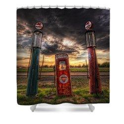 City Garage Sunset Shower Curtain