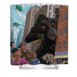 City Invasion Furry Monster Shower Curtain by Martin Davey