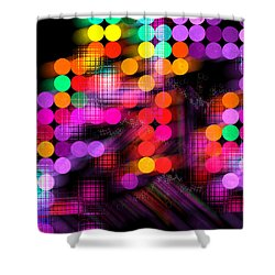 Shower Curtain featuring the digital art City Lights by Fran Riley