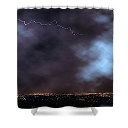 Shower Curtain featuring the photograph City Lights Night Strike by James BO Insogna