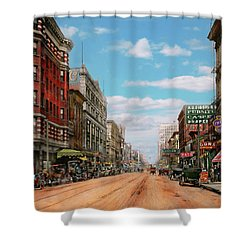 Shower Curtain featuring the photograph City - Memphis Tn - Main Street Mall 1909 by Mike Savad