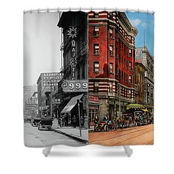 Shower Curtain featuring the photograph City - Memphis Tn - Main Street Mall 1909 - Side By Side by Mike Savad
