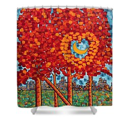 City Moonshine Shower Curtain by Holly Carmichael