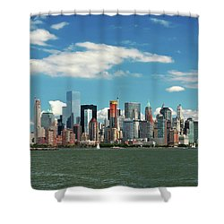 Shower Curtain featuring the photograph City - New York Ny - The New York Skyline by Mike Savad