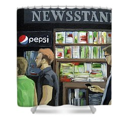 Shower Curtain featuring the painting City Newsstand - People On The Street Painting by Linda Apple