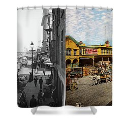Shower Curtain featuring the photograph City - Ny - A Hundred Some Years Ago 1900 - Side By Side by Mike Savad