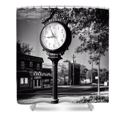 City Of Ellijay Clock In Black And White Shower Curtain