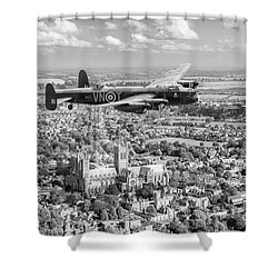Shower Curtain featuring the photograph City Of Lincoln Vn-t Over The City Of Lincoln Bw Version by Gary Eason