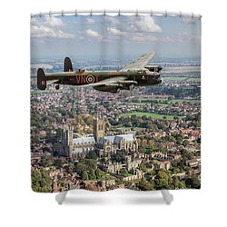 Shower Curtain featuring the photograph City Of Lincoln Vn-t Over The City Of Lincoln by Gary Eason