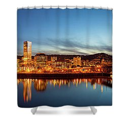 City Of Portland Skyline Blue Hour Panorama Shower Curtain by David Gn
