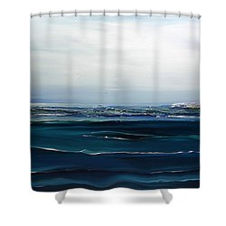 Shower Curtain featuring the painting City On The Sea by Dolores  Deal