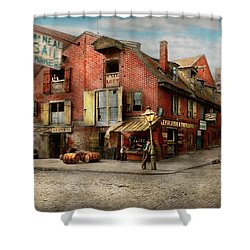 Shower Curtain featuring the photograph City - Pa - Fish And Provisions 1898 by Mike Savad