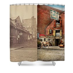 Shower Curtain featuring the photograph City - Pa - Fish And Provisions 1898 - Side By Side by Mike Savad