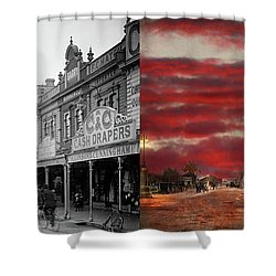 Shower Curtain featuring the photograph City - Palmerston North Nz - The Shopping District 1908 - Side By Side by Mike Savad