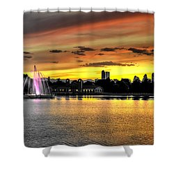 Shower Curtain featuring the photograph City Park Fountain Sunset by Stephen Johnson