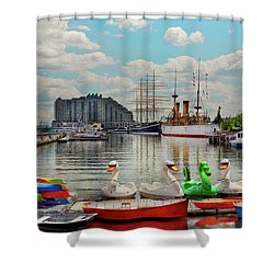 Shower Curtain featuring the photograph City - Philadelphia, Pa - Society Hill - The Gathering Place by Mike Savad