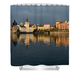 Shower Curtain featuring the photograph City River Reflections - Prague by Stuart Litoff