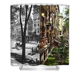 Shower Curtain featuring the photograph City - Saratoga Ny -  I Would Love To Be On Broadway 1915 - Side By Side by Mike Savad