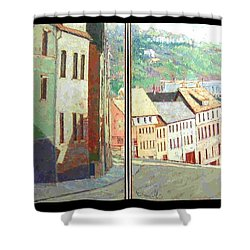 City Scape-dyptich Shower Curtain