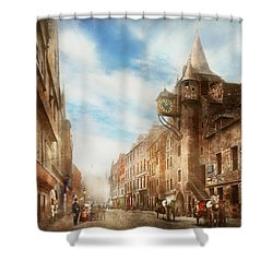 Shower Curtain featuring the photograph City - Scotland - Tolbooth Operator 1865 by Mike Savad