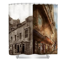 Shower Curtain featuring the photograph City - Scotland - Tolbooth Operator 1865 - Side By Side by Mike Savad
