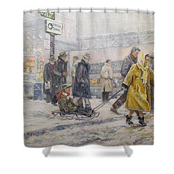 Shower Curtain featuring the painting City Snow Ride by Donna Tucker