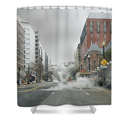 Shower Curtain featuring the photograph City Street On A Rainy Day by Francesa Miller