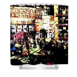 Shower Curtain featuring the painting City Stroll by Denise Tomasura
