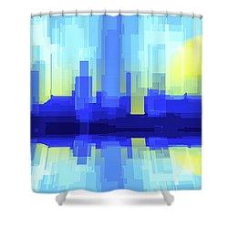 City Sun Silhouette Shower Curtain