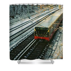 City Train In Berlin Under The Snow Shower Curtain