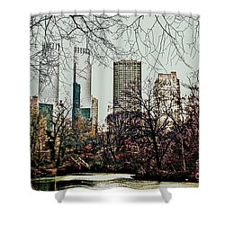 Shower Curtain featuring the photograph City View From Park by Sandy Moulder