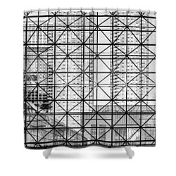 City Windows Abstract Black And White Shower Curtain