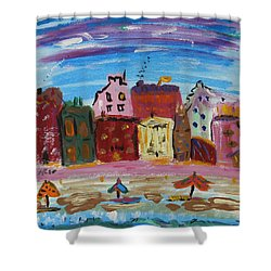 City With A Pink Boardwalk Shower Curtain by Mary Carol Williams