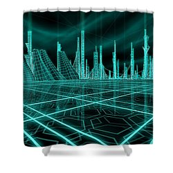 Cityscape 2010 Alpha Shower Curtain by James Christopher Hill