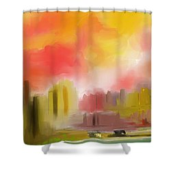 Cityscape Shower Curtain by David Lane