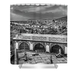 Cityscape Of Florence And Cemetery Shower Curtain