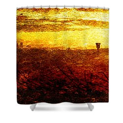 Cityscape Sunset Shower Curtain by Andrea Barbieri