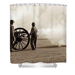 Shower Curtain featuring the photograph Civil War Era Cannon Firing  by Doug Camara