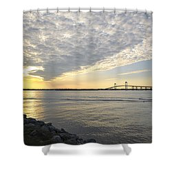 Claiborne Pell Newport Bridge Sunset Seen From Goat Island Shower Curtain