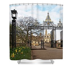 Shower Curtain featuring the photograph Clare College Gate Cambridge by Gill Billington