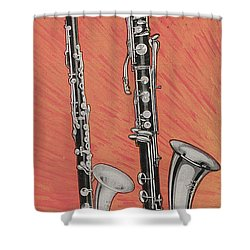 Clarinet And Giant Boehm Bass Shower Curtain by American School