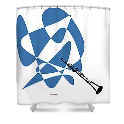 Clarinet In Blue Shower Curtain