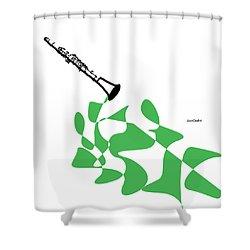 Clarinet In Green Shower Curtain by David Bridburg