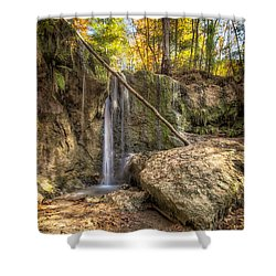 Shower Curtain featuring the photograph Clark Creek Nature Area Waterfall No. 1 by Andy Crawford