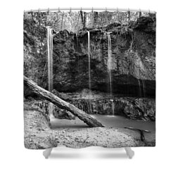 Shower Curtain featuring the photograph Clark Creek Nature Area Waterfall No. 2 In Black And White by Andy Crawford
