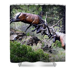Shower Curtain featuring the photograph Clash Of The Titans by AJ Schibig